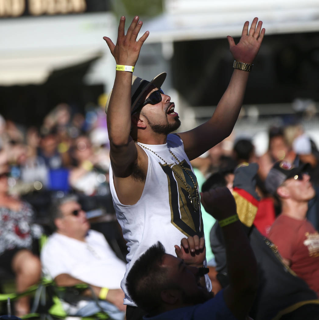 Golden Knights fan Adrian Valadez reacts during a watch party for Game 1 of the team's Western Conference Final against the Winnipeg Jets at the Downtown Las Vegas Events Center in Las Vegas on Sa ...