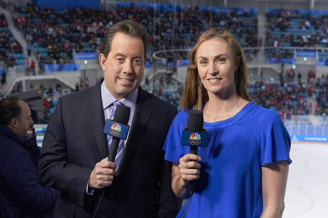 NBC hockey analyst AJ Mleczko, right, with broadcast partner Kenny Albert (Courtesy: NBC)