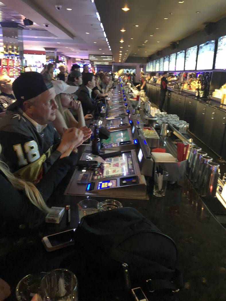The D Las Vegas co-owner Derek Stevens, at left in No. 18 jersey, watches the third period of the Vegas Golden Knights' 1-0 Stanley Cup Playoff victory over the Los Angeles Kings at the D's Longba ...