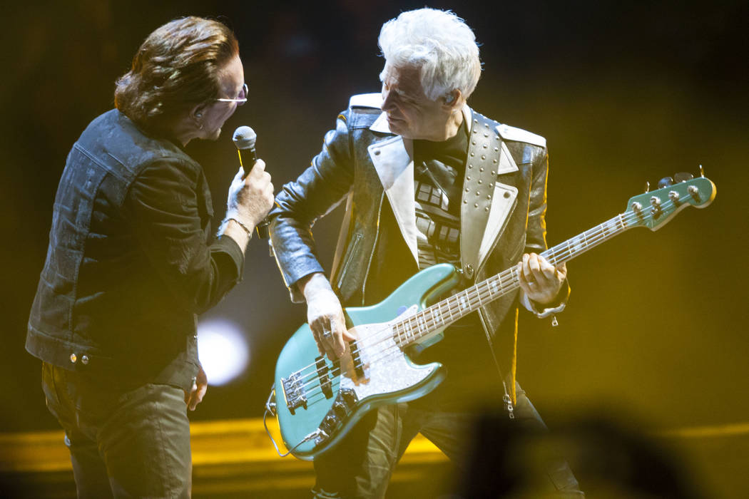 Bono, left, and Adam Clayton of U2 perform at T-Mobile Arena in Las Vegas on Friday, May 11, 2018. Chase Stevens Las Vegas Review-Journal @csstevensphoto