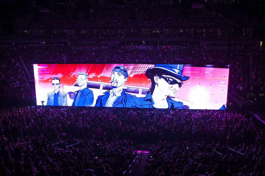 U2 performs at T-Mobile Arena in Las Vegas on Friday, May 11, 2018. Chase Stevens Las Vegas Review-Journal @csstevensphoto