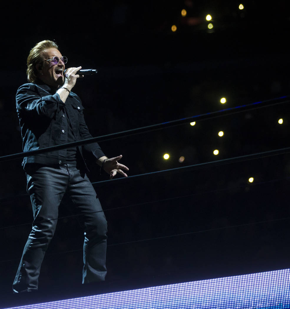 Bono of U2 performs at T-Mobile Arena in Las Vegas on Friday, May 11, 2018. Chase Stevens Las Vegas Review-Journal @csstevensphoto