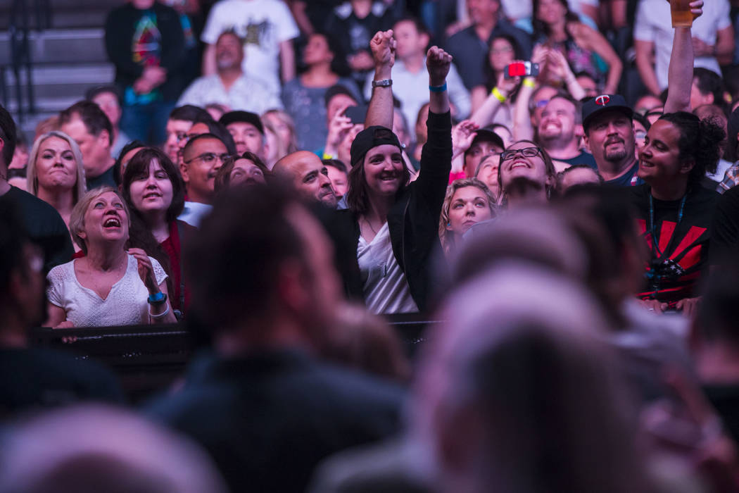 Fans react as U2 performs at T-Mobile Arena in Las Vegas on Friday, May 11, 2018. Chase Stevens Las Vegas Review-Journal @csstevensphoto