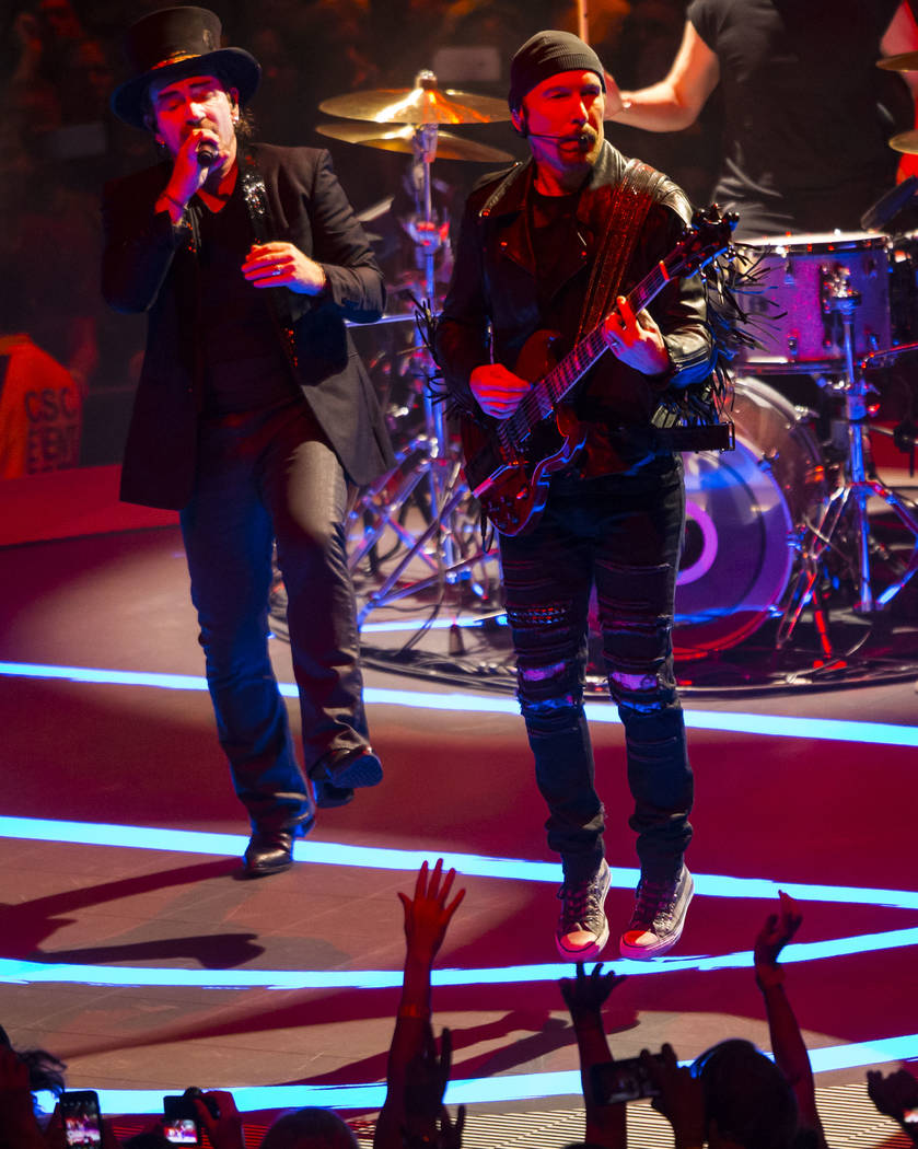 Bono, left, and The Edge of U2 perform at T-Mobile Arena in Las Vegas on Friday, May 11, 2018. Chase Stevens Las Vegas Review-Journal @csstevensphoto