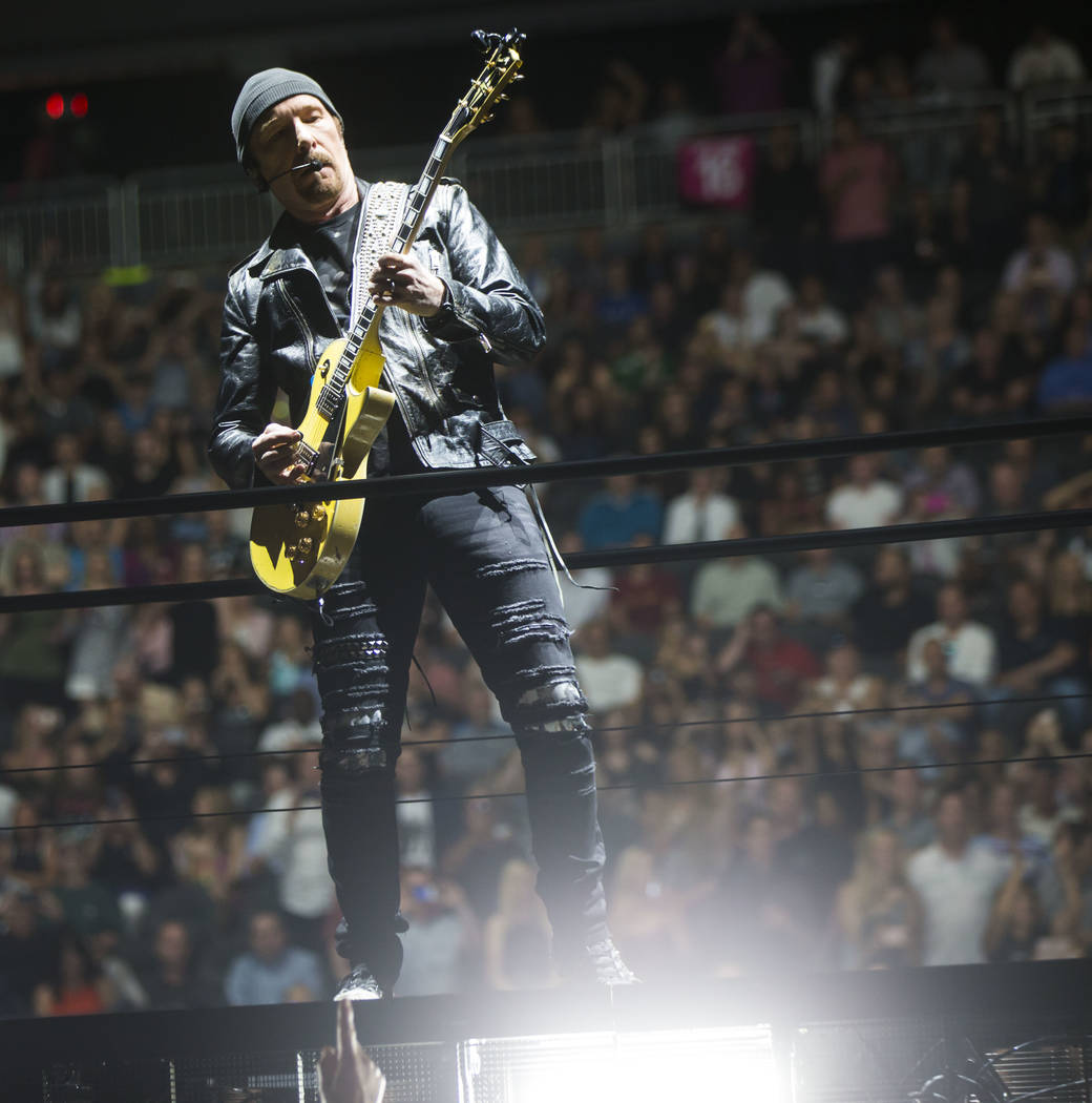 The Edge of U2 performs at T-Mobile Arena in Las Vegas on Friday, May 11, 2018. Chase Stevens Las Vegas Review-Journal @csstevensphoto