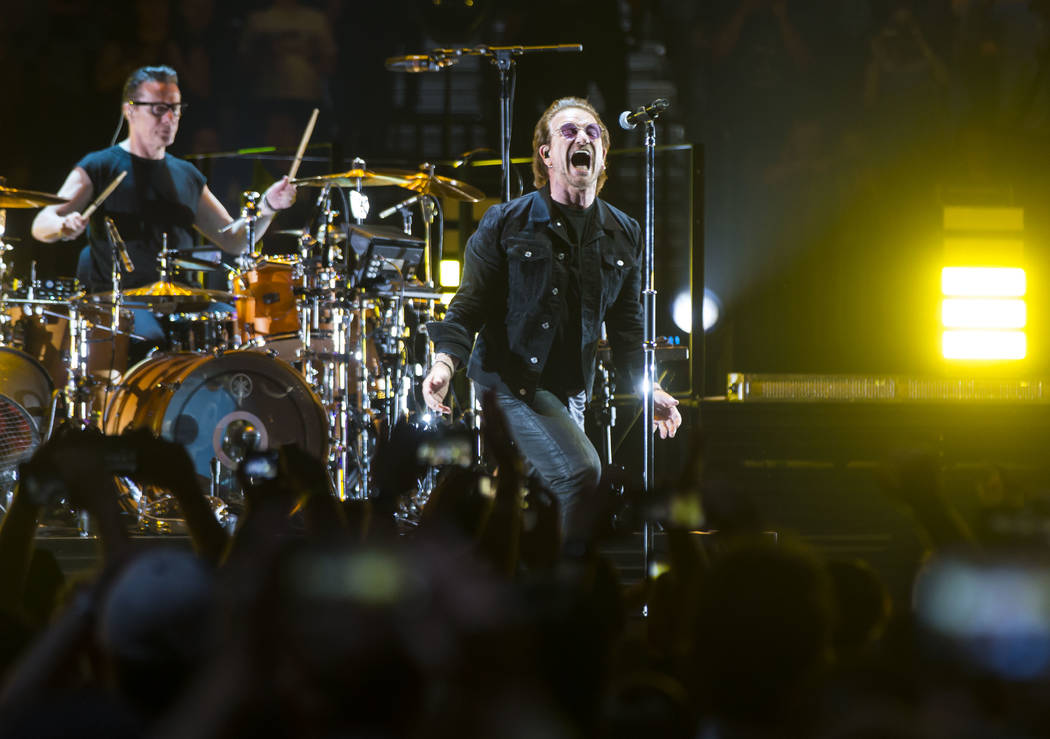 Larry Mullen Jr., left, and Bono of U2 perform at T-Mobile Arena in Las Vegas on Friday, May 11, 2018. Chase Stevens Las Vegas Review-Journal @csstevensphoto