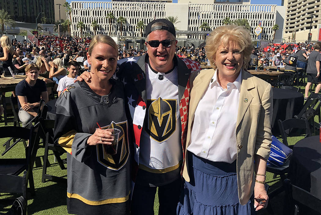 D Las Vegas co-owner Derek Stevens is shown with his wife, Nicole, and Las Vegas Mayor Carolyn Goodman at the official Vegas Golden Knights viewing party at Downtown Las Vegas Events Center on Sat ...