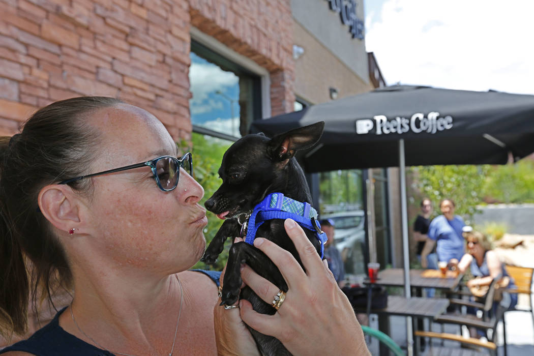 Brandi Barnhart of Summerlin kisses her foster Chihuahua Pinto during a dog adoption event at Peet's Coffee on Discovery Drive in Las Vegas, Sunday, May 13, 2018. Peet's Coffee partnered with Conn ...