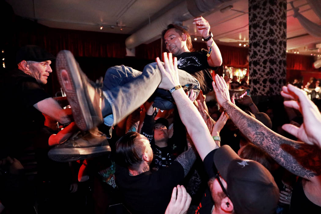 Toshiyasu Kusayanagi, vocalist for Vomit Remnants, crowd surfs during his band's set for the Las Vegas Death Fest at Fremont Country Club in Las Vegas on Saturday, May 12, 2018. The death metal fe ...