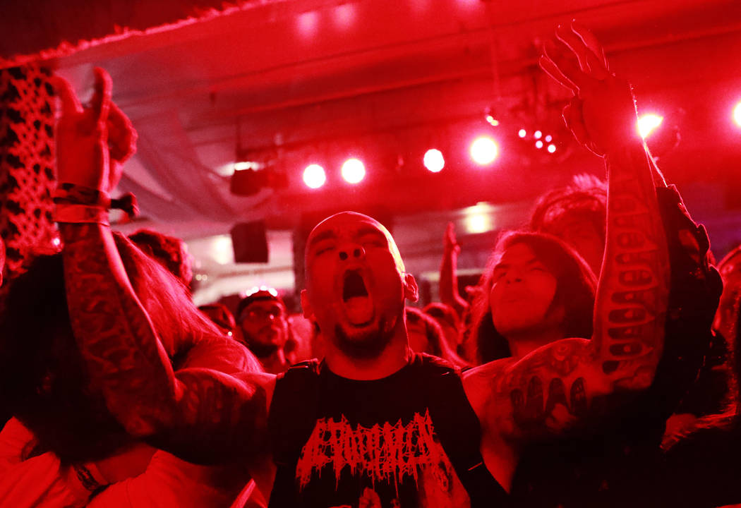Metal fans attend the Las Vegas Death Fest at Fremont Country Club in Las Vegas on Saturday, May 12, 2018. The death metal festival featured 48 acts over three days. Andrea Cornejo Las Vegas Revie ...
