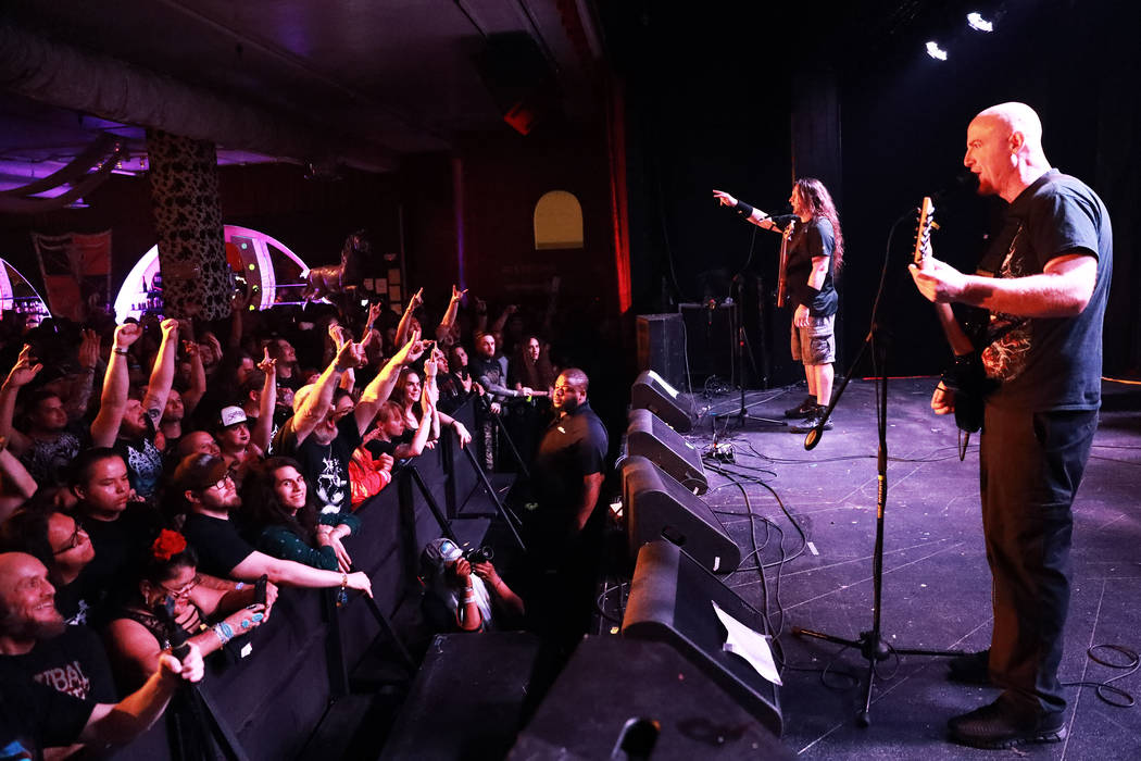 Dying Fetus performs during the Las Vegas Death Fest at Fremont Country Club in Las Vegas on Saturday, May 12, 2018. The death metal festival featured 48 acts over three days. Andrea Cornejo Las V ...