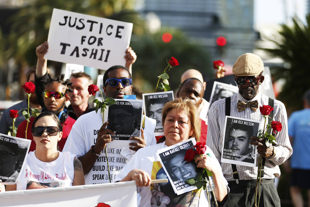 Attendees march towards The Venetian during a vigil for Tashii Brown, who died in the custody of the Metropolitan Police Department a year ago, in Las Vegas on Sunday, May 13, 2018. Andrea Cornejo ...
