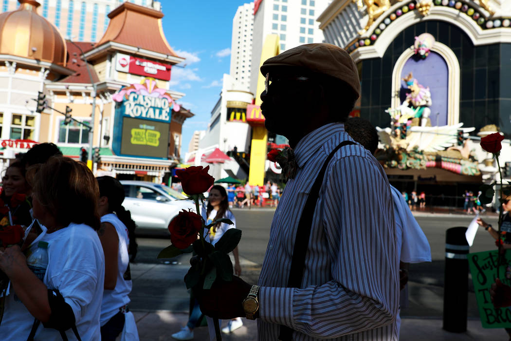 Cornell McCrary attends a vigil for Tashii Brown, who died in the custody of the Metropolitan Police Department a year ago, in Las Vegas on Sunday, May 13, 2018. Andrea Cornejo Las Vegas Review-J ...