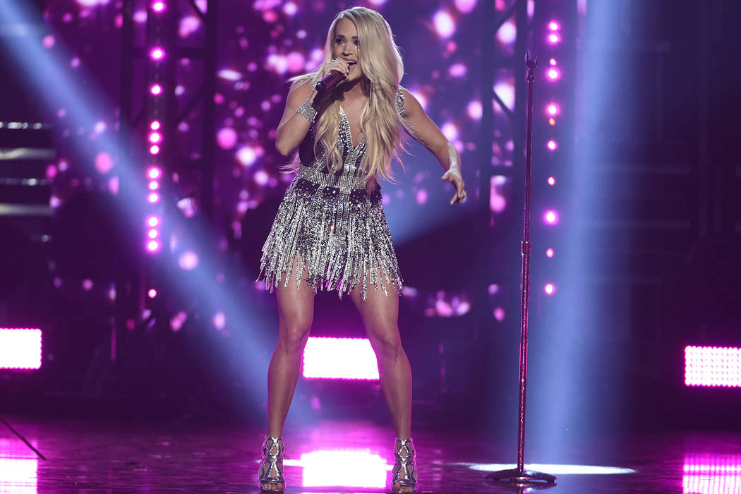 "Carrie Underwood performs ""Cry Pretty"" at the 53rd annual Academy of Country Music Awards at the MGM Grand Garden Arena on Sunday, April 15, 2018, in Las Vegas. (Photo by Chris Pizzello/ ..."