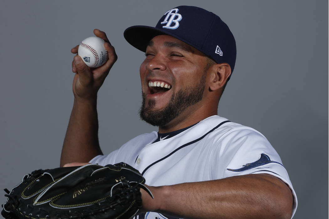 This is a 2018 photo of Johnny Monell from the preseason when he was part of the Tampa Bay Rays baseball team. He now plays for the Mets organization and the Las Vegas 51s. (AP Photo/John Minchillo)