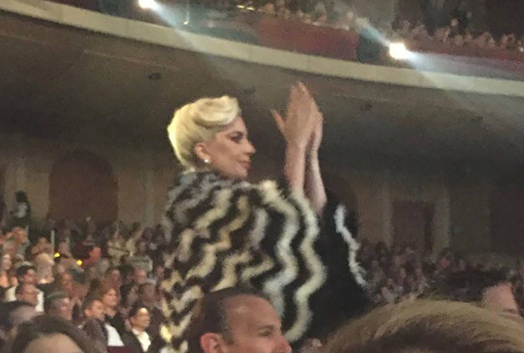 Lady Gaga is seen applauding at Elton John's show at the Colosseum at Caesars Palace on Saturday, May 12, 2018. (Maren Wade)