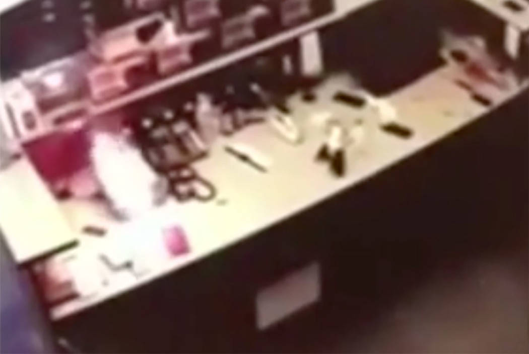 An iPhone explodes in a Las Vegas repair shop (screengrab from CBS New York video)