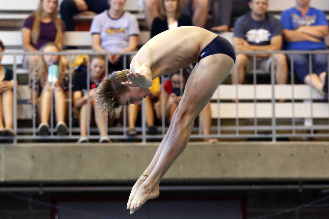 Timothy Newton, of Coronado High School, competes in the Class 4A Sunrise and Sunset Region and 3A Southern Region diving competitions at UNLV's Buchanan Natatorium in Las Vegas on Monday, May 7, ...