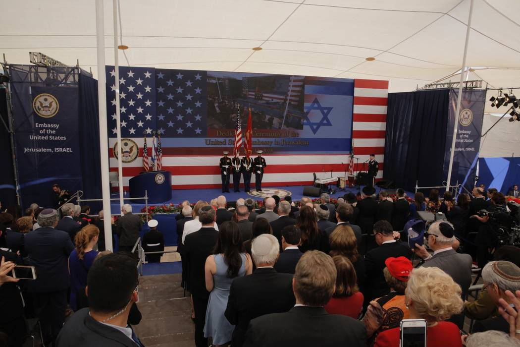 Presentation of colors by U.S Marines and singing of the U.S national anthem during the opening ceremony of the new US embassy in Jerusalem, Monday, May 14, 2018. Amid deadly clashes along the Isr ...