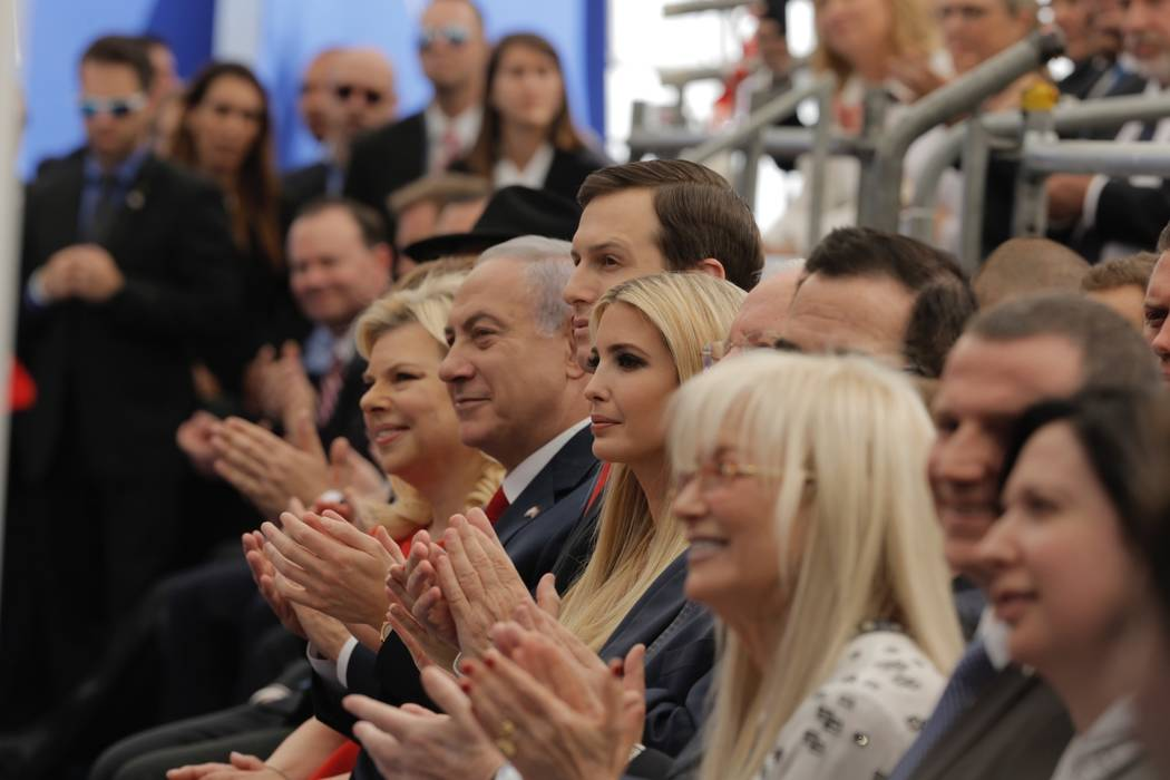 Israel's Prime Minister Benjamin Netanyahu, 2nd left, his wife Sara Netanyahu, left, Senior White House Advisor Jared Kushner, 3rd left, US President's daughter Ivanka Trump, center, US Treasury S ...