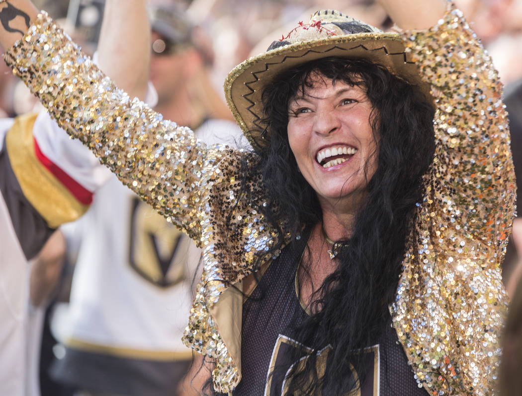 Golden Knights fan Marie Wong dances at a watch party at Red Rock Casino after Golden Knights right wing Alex Tuch scored a first period goal during Vegas' game two NHL Western Conference Finals r ...
