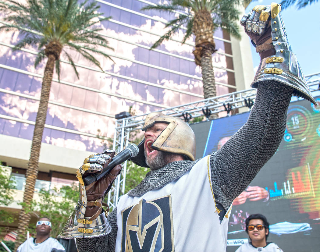 "Lee Orchard, AKA the ""Golden Knight"" fires up the crowd at a watch party at Red Rock Casino during the Golden Knights game two NHL Western Conference Finals road matchup with the Winnipe ..."
