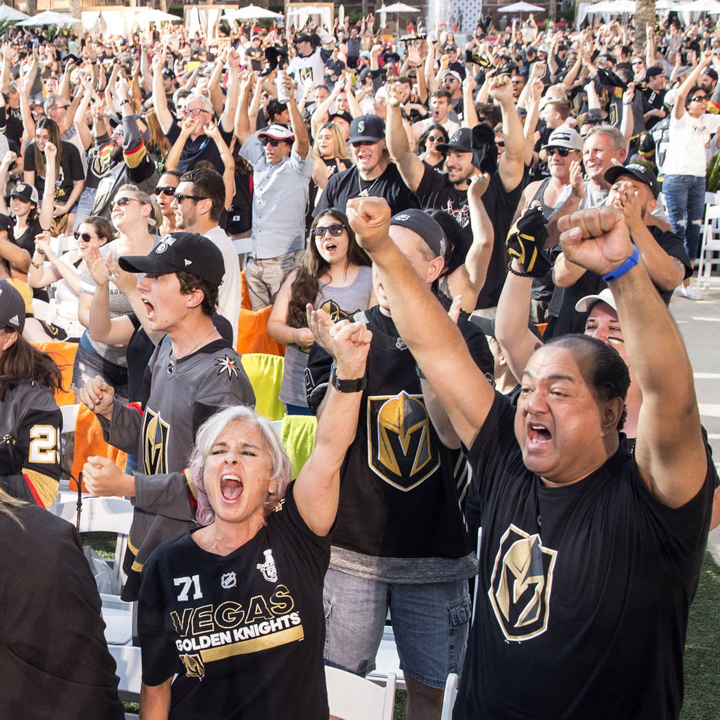Golden Knights fans erupt at a watch party at Red Rock Casino after Golden Knights right wing Alex Tuch scored a first period goal during Vegas' game two NHL Western Conference Finals road matchup ...