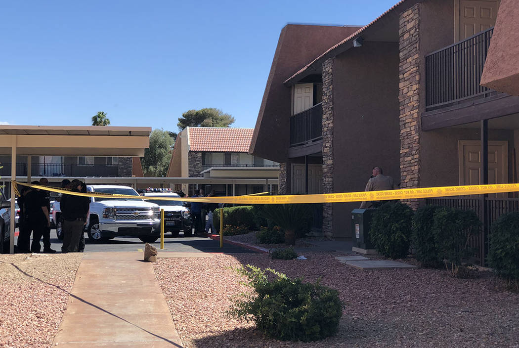 The man killed in a domestic-related shooting Saturday, May 12, 2018, in southwest Las Vegas has been identified as Brandon Payton, 33. (Rio Lacanlale/Las Vegas Review-Journal)