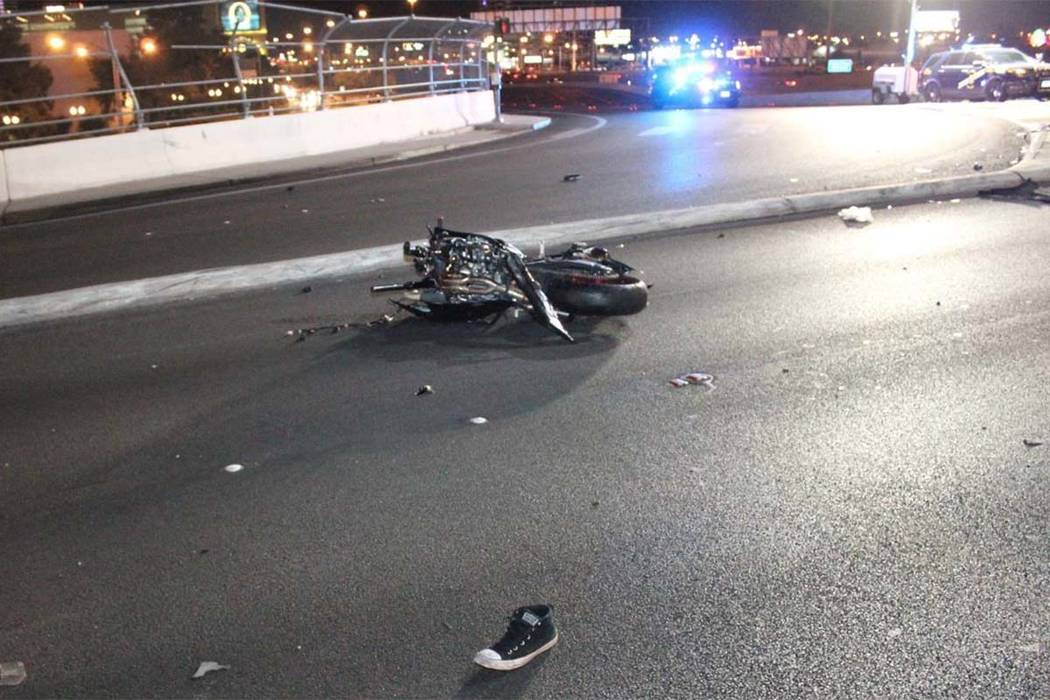 A 52-year-old motorcyclist died early Sunday in a collision with a Cadillac pick-up truck at the northbound off-ramp from I-15 to Flamingo Road in Las Vegas. (Las Vegas Metropolitan Police Department)
