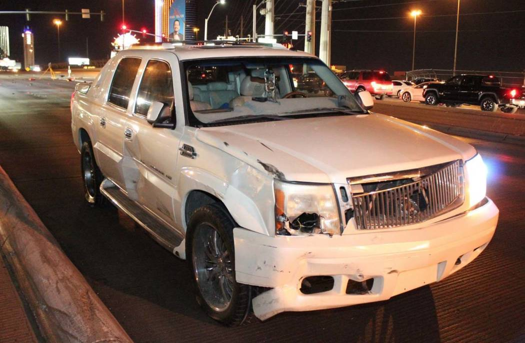A Cadillac pick-up truck was involved in a collision at the northbound off-ramp from I-15 to Flamingo Road in Las Vegas early Sunday morning. (Las Vegas Metropolitan Police Department)