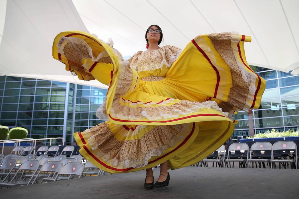Joanna Guevara, 14, rehearses for a dance performance at the East Career and Technical Academy in Las Vegas, Friday, May 4, 2018. Erik Verduzco Las Vegas Review-Journal @Erik_Verduzco