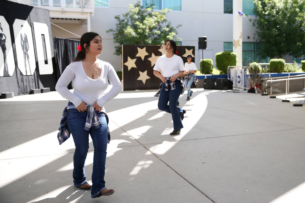 Julie Buenrostro, 15, left, rehearses for a dance performance at the East Career and Technical Academy in Las Vegas, Friday, May 4, 2018. Erik Verduzco Las Vegas Review-Journal @Erik_Verduzco