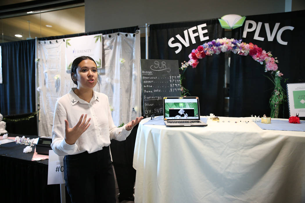 Aurora Osuna, 16, marketing and hospitality student, gives a presentation at the East Career and Technical Academy in Las Vegas, Friday, May 4, 2018. Erik Verduzco Las Vegas Review-Journal @Erik_V ...