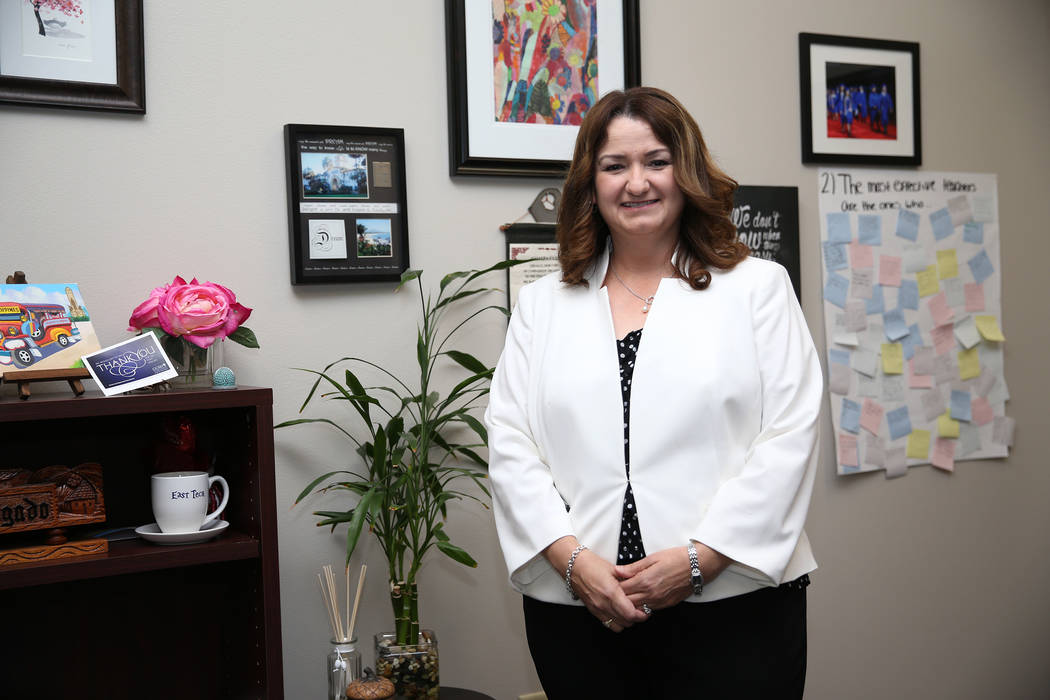 East Career and Technical Academy principal Darlin Delgado inside her office in Las Vegas, Friday, May 4, 2018. Erik Verduzco Las Vegas Review-Journal @Erik_Verduzco