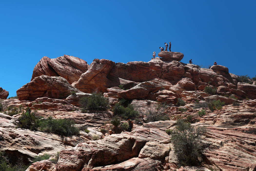 Visitors walk around Red Rock Canyon National Conservation Area in Las Vegas on Monday, May 7, 2018. Andrea Cornejo Las Vegas Review-Journal @dreacornejo