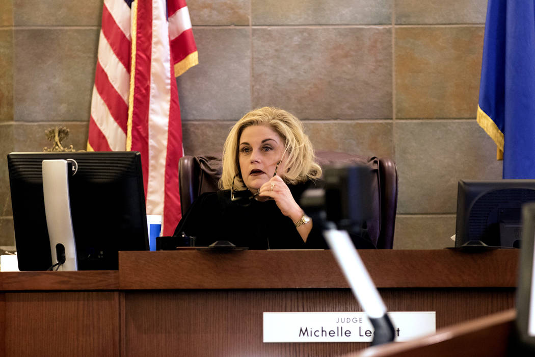 Judge Michelle Leavitt listens to testimony at the Regional Justice Center in Las Vegas, Friday, March 17, 2017. (Heidi Fang /Las Vegas Review-Journal) @HeidiFang