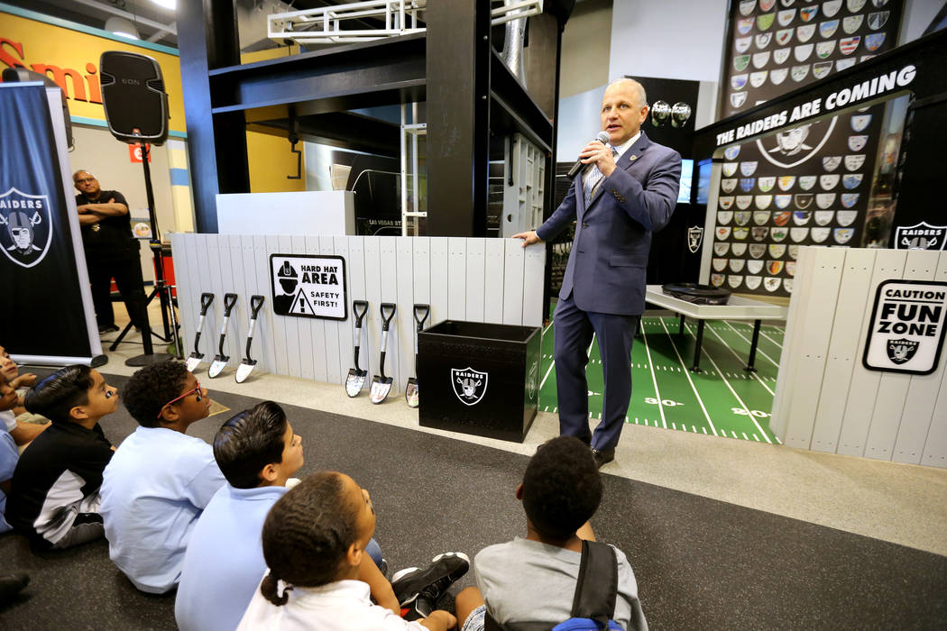 Marc Badain, the president of the Raiders, during the opening of the Raiders Kids Construction Zone Groundbreaking exhibit at Discovery Children's Museum in Las Vegas Wednesday, May, 16, 2018. Six ...