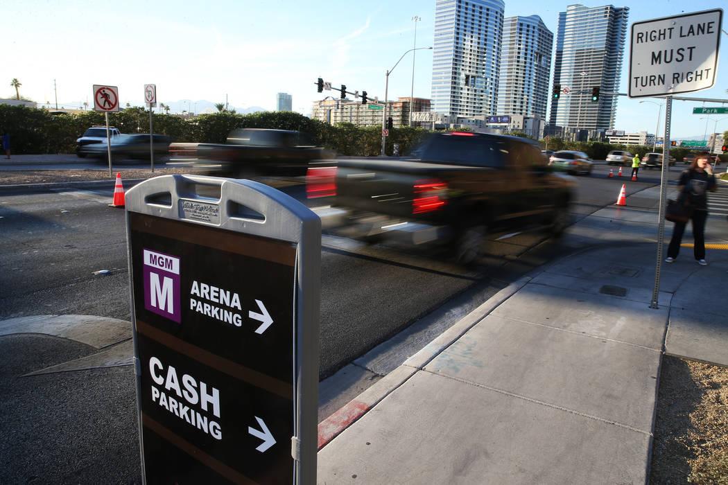 Traffic outside T-Mobile Arena prior to the Vegas Golden Knights NHL season home opener at T-Mobile Arena in Las Vegas, Tuesday, Oct. 10, 2017. Erik Verduzco Las Vegas Review-Journal @Erik_Verduzco