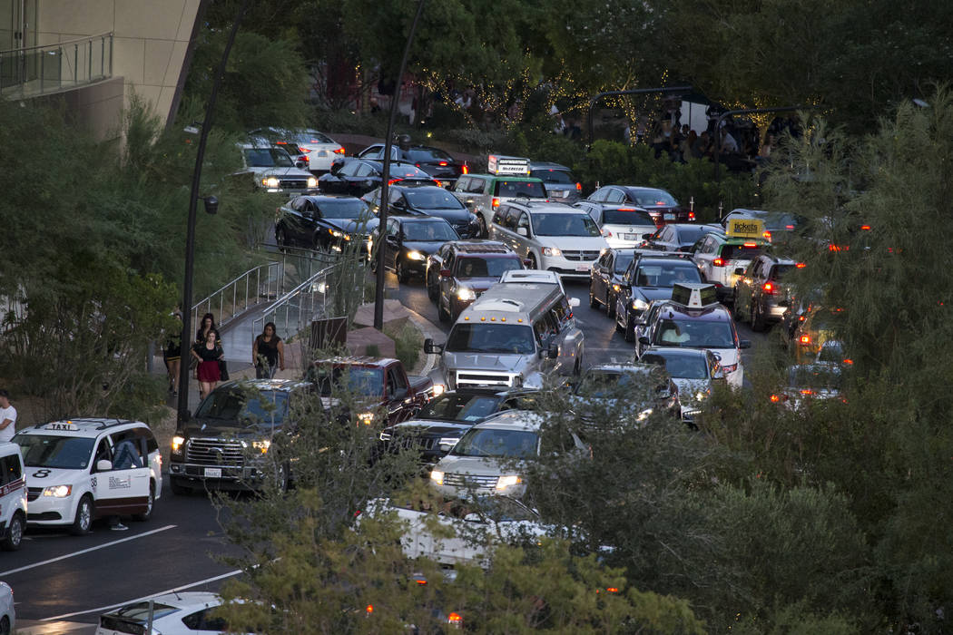 Traffic outside of the Monte Carlo parking garage near T-Mobile Arena before the first preseason home game for the Vegas Golden Knights in Las Vegas, Tuesday, Sept. 26, 2017. Erik Verduzco Las Veg ...
