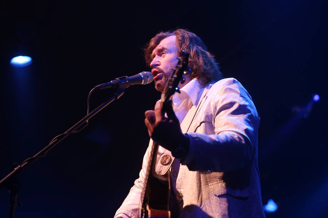 Michael Clift as Barry Gibb of the Australian Bee Gees, a Bee Gee tribute band, performs at the Thunder Showroom at the Excalibur hotel-casino in Las Vegas, Sunday, May 13, 2018. Rachel Aston Las ...