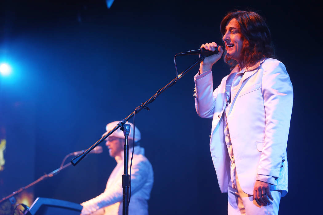 David Scott as Robin Gibb of the Australian Bee Gees, a Bee Gee tribute band, performs at the Thunder Showroom at the Excalibur hotel-casino in Las Vegas, Sunday, May 13, 2018. Rachel Aston Las Ve ...