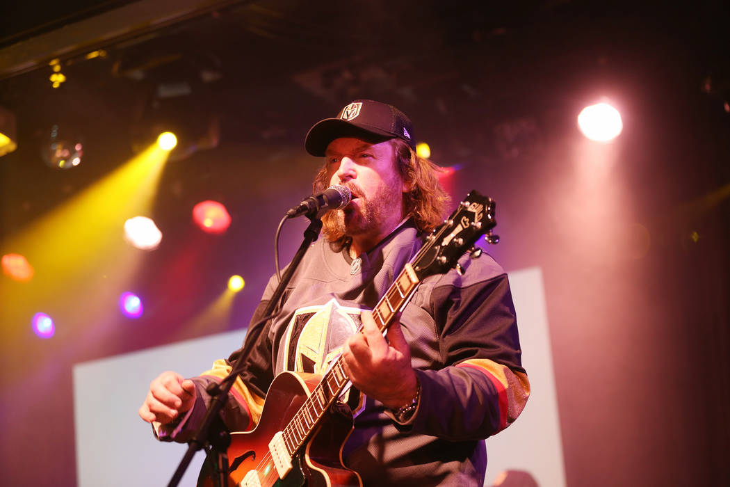Michael Clift as Barry Gibb of the Australian Bee Gees, a Bee Gee tribute band, performs at the Thunder Showroom at the Excalibur hotel-casino in Las Vegas, Sunday, May 13, 2018. The band altered ...