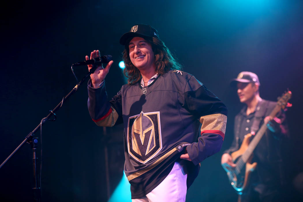 David Scott as Robin Gibb of the Australian Bee Gees, a Bee Gee tribute band, performs at the Thunder Showroom at the Excalibur hotel-casino in Las Vegas, Sunday, May 13, 2018. The band altered th ...