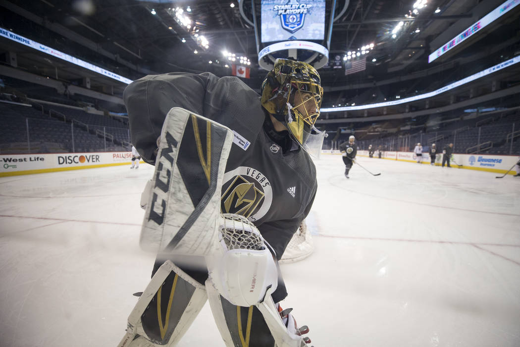 Vegas Golden Knights goaltender Marc-Andre Fleury (29) takes part in the morning skate ahead of Game 2 against the Winnipeg Jets at the Bell MTS Place in Winnipeg, Canada, on Monday, May 14, 2018. ...