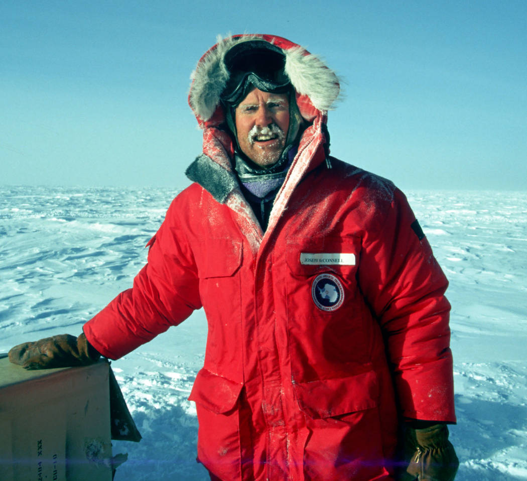 Desert Research Institute research professor Joe McConnell poses near the South Pole in 2006 while drilling ice cores in wind-chill temperatures of minus 100 degrees Fahrenheit. Desert Research In ...