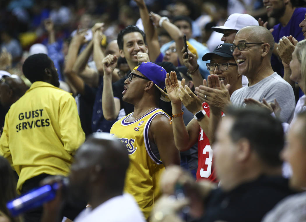 Los Angeles Lakers fans cheer during the NBA Summer League championship game against the Portland Trail Blazers at the Thomas & Mack Center in Las Vegas on Monday, July 17, 2017. Chase Steven ...