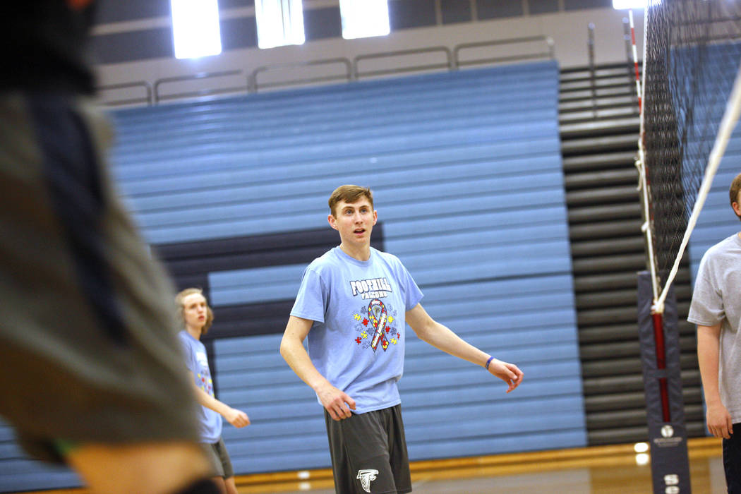 Caleb Stearman, 17, of the Foothill High School mens volleyball team, waits for the ball during practice at Foothill High School in Henderson, Monday, May 14, 2018. Stearman is both a setter on th ...