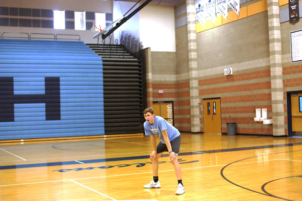 Caleb Stearman, 17, of the Foothill High School mens volleyball team, pauses during practice at Foothill High School in Henderson, Monday, May 14, 2018. Stearman is both a setter on the volleyball ...