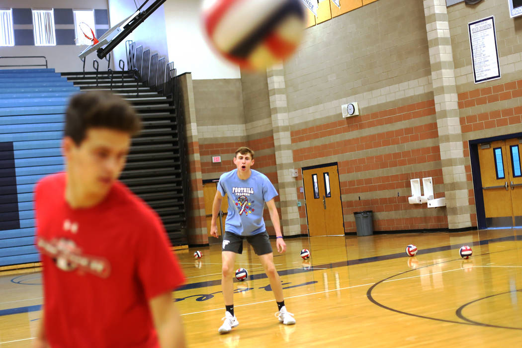 Caleb Stearman, 17, of the Foothill High School mens volleyball team, watches the ball during practice at Foothill High School in Henderson, Monday, May 14, 2018. Stearman is both a setter on the ...
