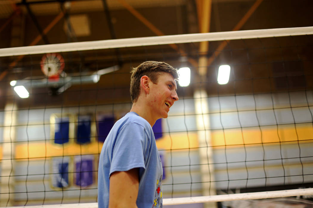 Caleb Stearman, 17, of the Foothill High School mens volleyball team, during practice at Foothill High School in Henderson, Monday, May 14, 2018. Stearman is both a setter on the volleyball team a ...